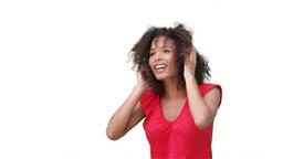 Woman listening to music on headphones Stock Video Footage