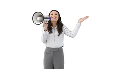 Woman shouting through a megaphone Stock Video Footage