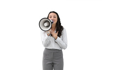 Woman shouting through a megaphone Footage