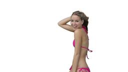 Woman in her pink bikini dancing Stock Video Footage