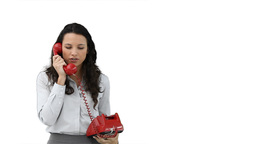 Woman talking to someone on the telephone Footage