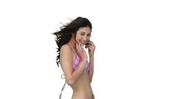 Woman in a bikini dances Stock Video Footage