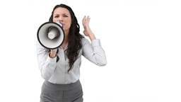 A business woman shouts into a megaphone Stock Video Footage