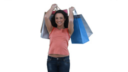 Woman with shopping bags smiling Stock Video Footage