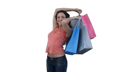 Woman with shopping bags smiling Footage