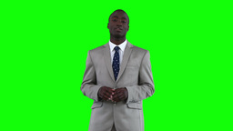 Businessman standing while making an announcement Stock Video Footage