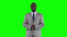 Businessman standing while making an announcement Footage
