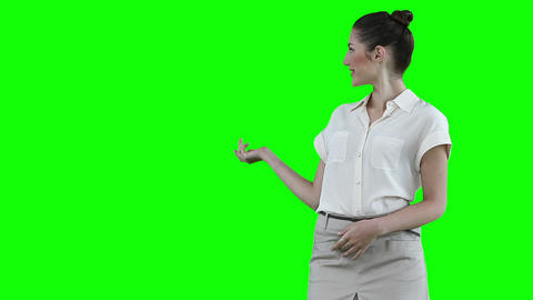 Woman making an announcement while using a virtual Footage