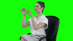 Businesswoman attentively typing on a virtual keyb Stock Video Footage