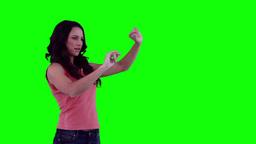 Woman scrolling through items on a virtual keyboar Footage