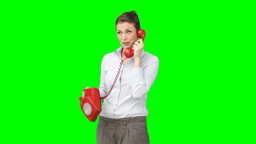 A woman chatting on the telephone Footage