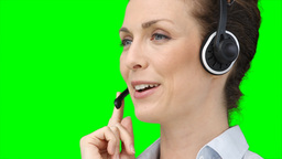 A woman using a headset Stock Video Footage