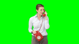 A woman talking on the telephone Footage