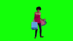 Happy woman is holding shopping bags Footage