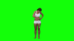 A woman is measuring her waist Stock Video Footage