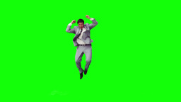 A man in a suit is jumping Footage