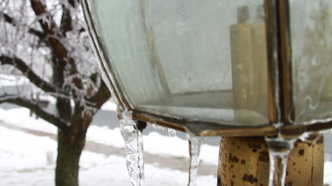 0222 Light Post, Ice Storm, Icing, Icicle 1 Stock Video Footage