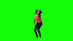 An excited woman is dancing Footage