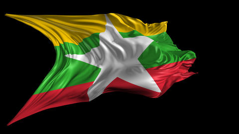 Flag of Burma-Myanmar Stock Video Footage