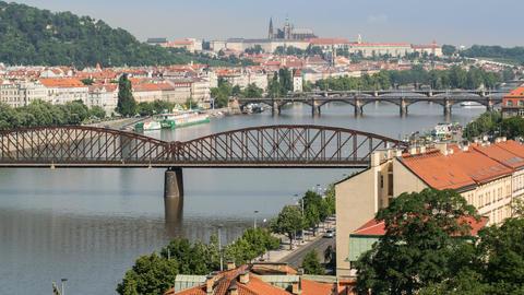4k UHD Traffic On Prague Bridges Time Lapse 11447 stock footage