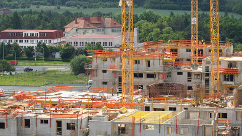 4k UHD Housebuilding Construction Close Pan 11449 stock footage