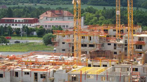 4k UHD housebuilding construction close pan 11449 Footage