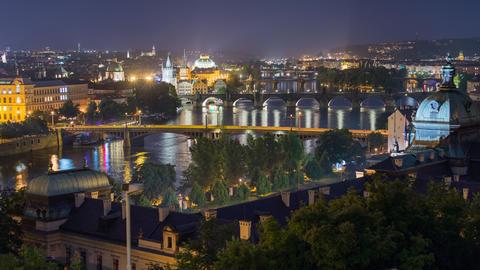 4k UHD city and bridges of prague wide time 11451 Footage