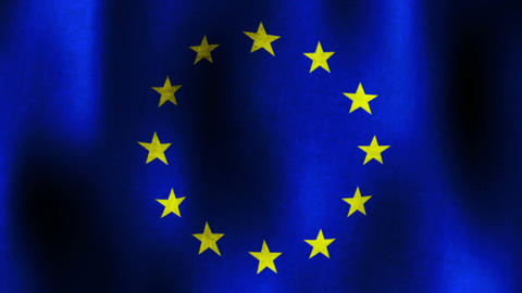 Waving Flag of European Union, Textured, Loopable Animation