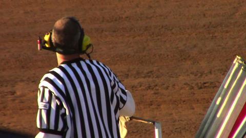 1671 Man Waving Checker Flag at Finish Line at Rac Footage