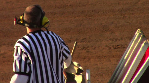 1671 Man Waving Checker Flag at Finish Line at Rac Stock Video Footage