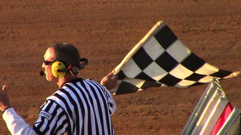 1674 Man Waving Checker Flag at Finish Line at Rac Footage
