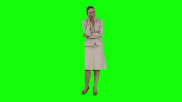 A businesswoman is talking on her mobile phone Footage