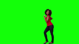 A happy woman is dancing Stock Video Footage