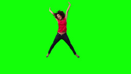 A happy woman is jumping Footage