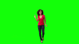 A young brunette woman is dancing Footage