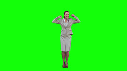 Smiling woman in slow motion raising her arms Stock Video Footage