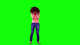 Happy woman in slow motion listening to music Footage