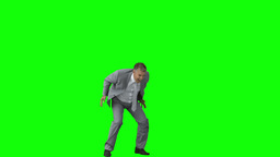 Happy businessman in slow motion raising his arms Stock Video Footage