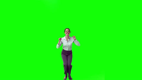 Happy secretary in slow motion jumping Footage