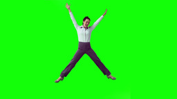 Brunette in slow motion raising her arms Stock Video Footage