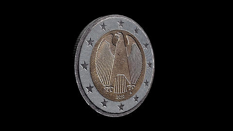 2 Euro Coin Rotation, Loopable Video Stock Video Footage