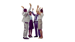 Work team in slow motion clapping their hands Stock Video Footage