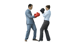 Businesspeople in slow motion boxing with gloves a Footage