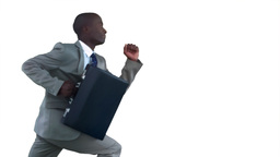 Businessman running in slow motion Footage