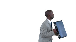 Businessman running in slow motion Stock Video Footage