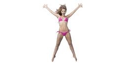 Pink bikini wearing woman jumping in slow motion Footage