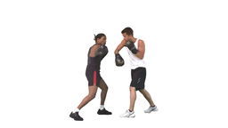 Two men sparring together with gloves in slow moti Stock Video Footage