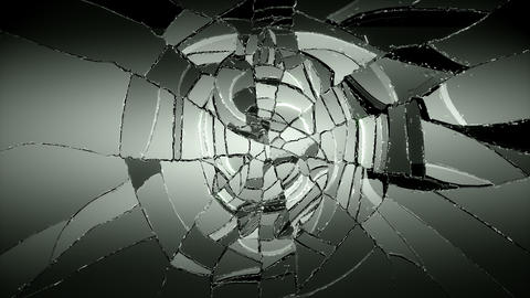 4K Glass and dollar symbol shattered slow motion.  Animation