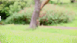 Peaceful woman sitting on the grass Stock Video Footage