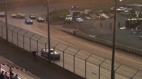 1687 Race Car Spin Out at Dirt Track During Sunset Footage